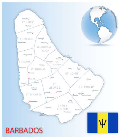 Detailed Barbados administrative map with country flag and location on a blue globe. Vector illustration