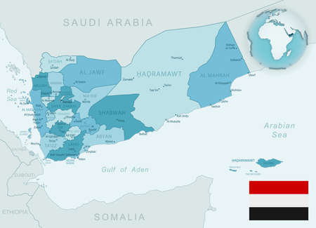 Blue-green detailed map of Yemen administrative divisions with country flag and location on the globe. Vector illustration