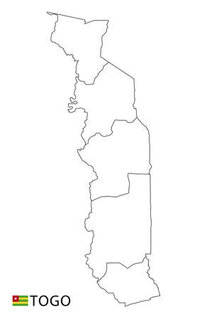 Togo map, black and white detailed outline regions of the country. Vector illustration 免版税图像 - 157886704