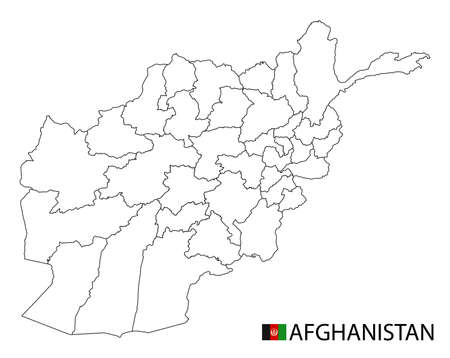 Afghanistan map, black and white detailed outline regions of the country. Vector illustration 矢量图像
