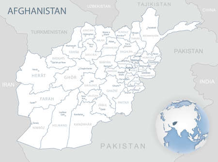 Blue-gray detailed map of Afghanistan administrative divisions and location on the globe. Vector illustration