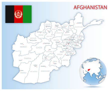 Detailed Afghanistan administrative map with country flag and location on a blue globe. Vector illustration 免版税图像 - 157891389