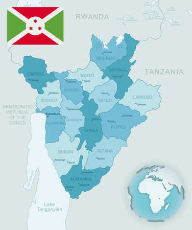 Blue-green detailed map of Burundi administrative divisions with country flag and location on the globe. Vector illustration
