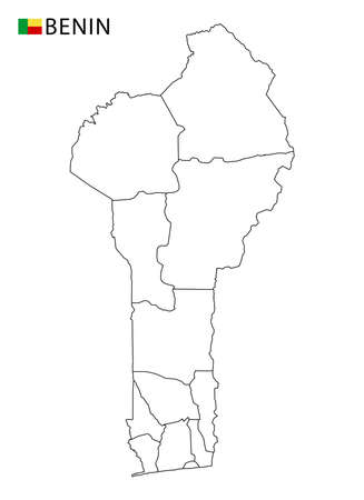 Benin map, black and white detailed outline regions of the country. Vector illustration