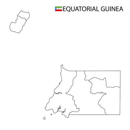 Equatorial Guinea map, black and white detailed outline regions of the country. Vector illustration 向量圖像