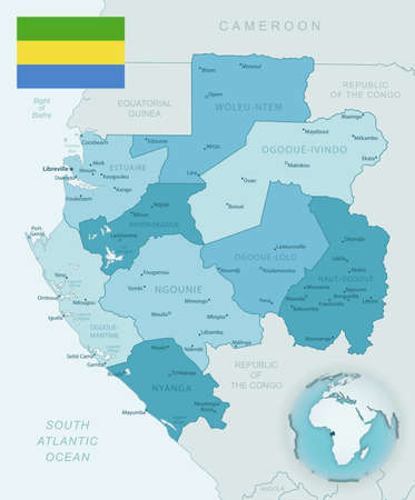 Blue-green detailed map of Gabon administrative divisions with country flag and location on the globe. Vector illustration