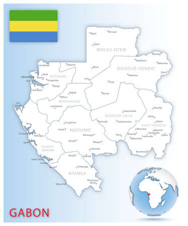 Detailed map of Gabon administrative divisions with country flag and location on the globe. Vector illustration