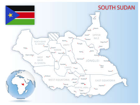 Detailed South Sudan administrative map with country flag and location on a blue globe. Vector illustration