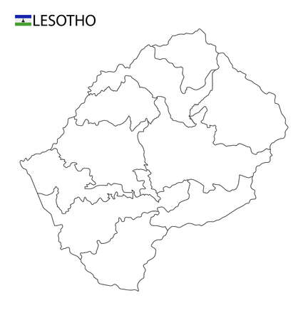 Lesotho map, black and white detailed outline regions of the country. Vector illustration