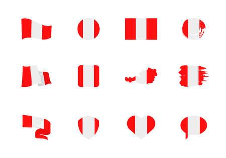 Flags of Austria - flat collection. Flags of different shaped twelve flat icons. Vector illustration set Ilustração