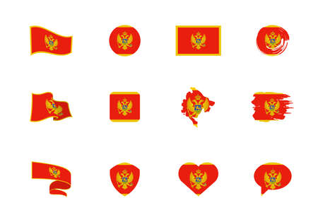 Flags of Montenegro - flat collection. Flags of different shaped twelve flat icons. Vector illustration set