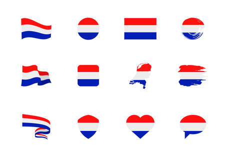 Flags of Netherlands - flat collection. Flags of different shaped twelve flat icons. Vector illustration set