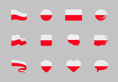 Poland flag - flat collection. Flags of different shaped twelve flat icons. Vector illustration set