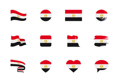 Egypt flag - flat collection. Flags of different shaped twelve flat icons. Vector illustration set 向量圖像