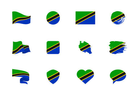 Tanzania flag - flat collection. Flags of different shaped twelve flat icons. Vector illustration set Vetores