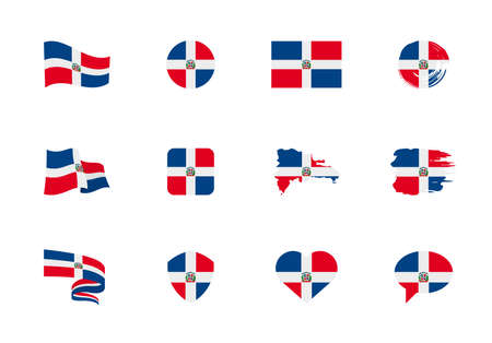 Dominican Republic flag - flat collection. Flags of different shaped twelve flat icons. Vector illustration set