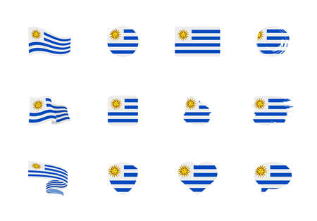 Uruguay flag - flat collection. Flags of different shaped twelve flat icons. Vector illustration set