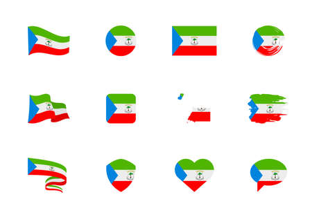 Equatorial Guinea flag - flat collection. Flags of different shaped twelve flat icons. Vector illustration set
