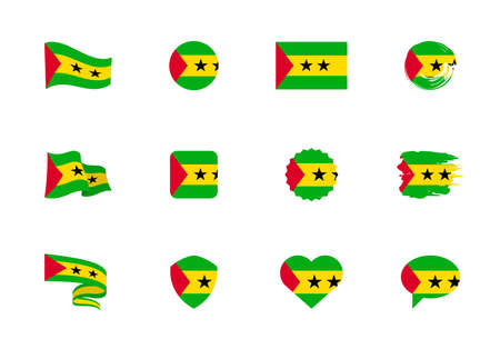 Sao Tome and Principe flag - flat collection. Flags of different shaped twelve flat icons. Vector illustration set