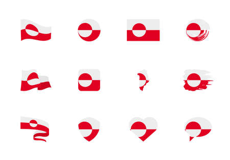 Greenland flag - flat collection. Flags of different shaped twelve flat icons. Vector illustration set