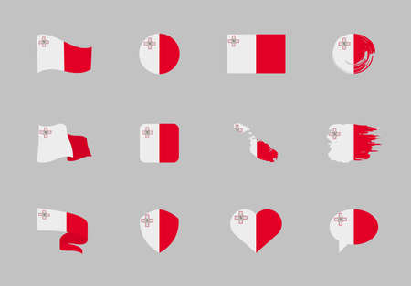 Malta flag - flat collection. Flags of different shaped twelve flat icons. Vector illustration set 矢量图像