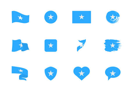 Somalia flag - flat collection. Flags of different shaped twelve flat icons. Vector illustration set