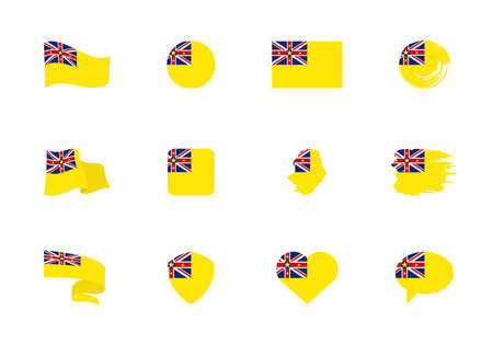 Niue flag - flat collection. Flags of different shaped twelve flat icons. Vector illustration set