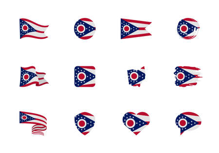 Ohio - flat collection of US states flags. Flags of twelve flat icons of various shapes. Set of vector illustrations