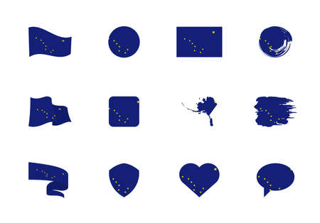 Alaska - flat collection of US states flags. Flags of twelve flat icons of various shapes. Set of vector illustrations
