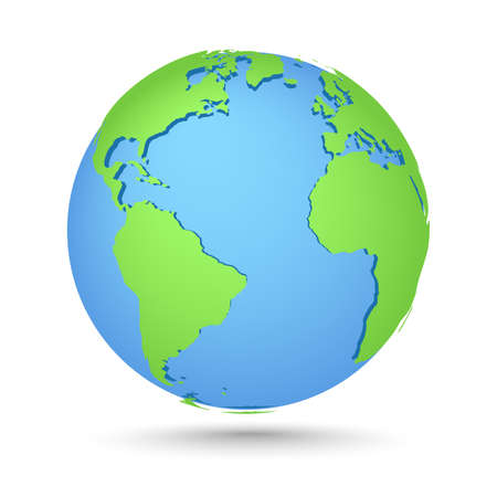 Globes icon. World map. Planet with continents Africa, Asia, Australia, Europe, North America and South America, Antarctica Illustration