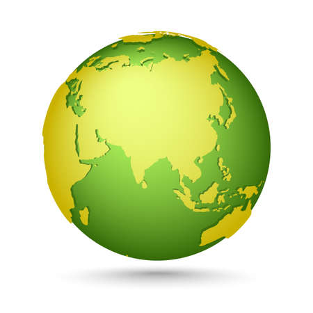Yellow-green globe. Globes icons collection. Planet with continents Africa, Asia, Australia, Europe, North America and South America. Ilustración de vector