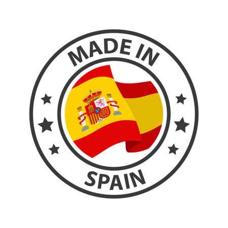 Made in Spain icon. Stamp made in with country flag