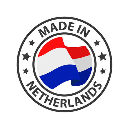 Made in Netherlands icon. Stamp made in with country flag
