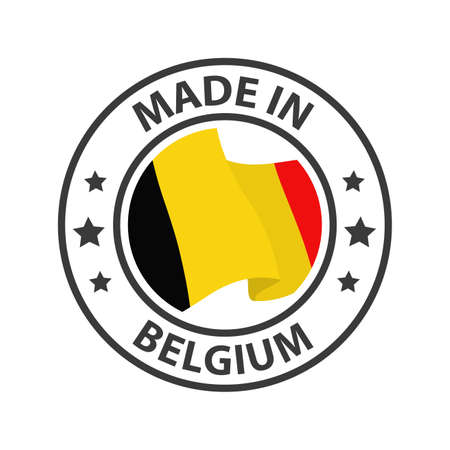 Made in Belgium icon. Stamp made in with country flag