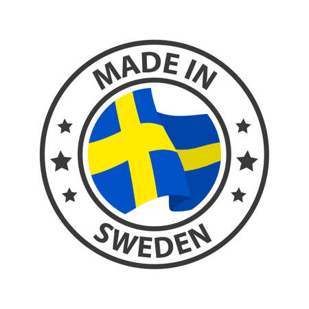 Made in Sweden icon. Stamp made in with country flag