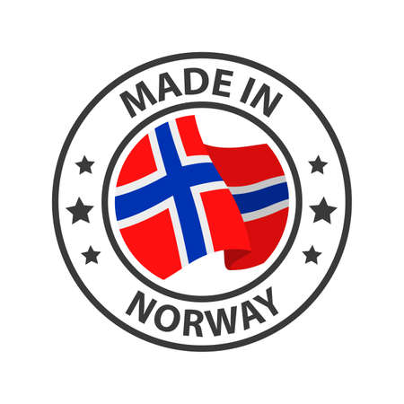 Made in Norway icon. Stamp made in with country flag