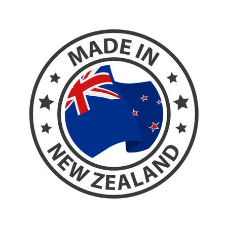Made in New Zealand icon. Stamp made in with country flag
