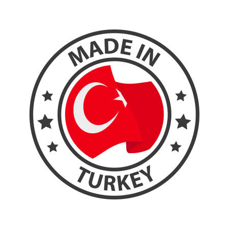 Made in Turkey icon. Stamp made in with country flag