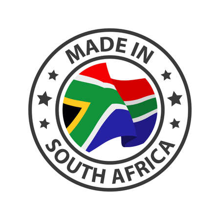 Made in South Africa icon. Stamp made in with country flag