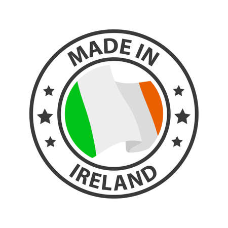 Made in Ireland icon. Stamp made in with country flag