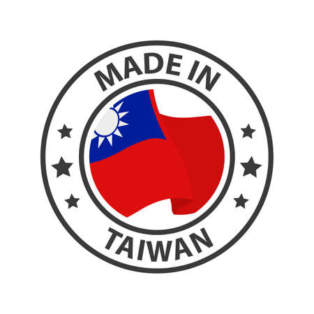 Made in Taiwan icon. Stamp made in with country flag 矢量图像