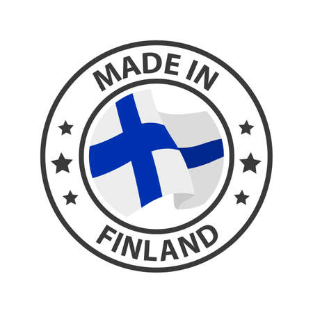 Made in Finland icon. Stamp made in with country flag