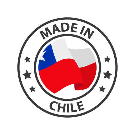 Made in Chile icon. Stamp made in with country flag 矢量图像