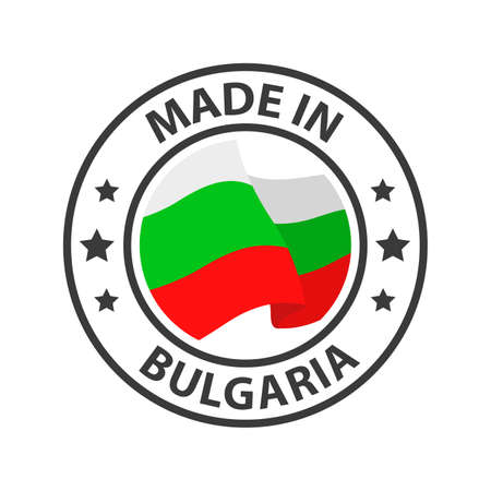 Made in Bulgaria icon. Stamp made in with country flag