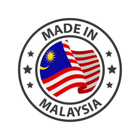 Made in Malaysia icon. Stamp made in with country flag 矢量图像