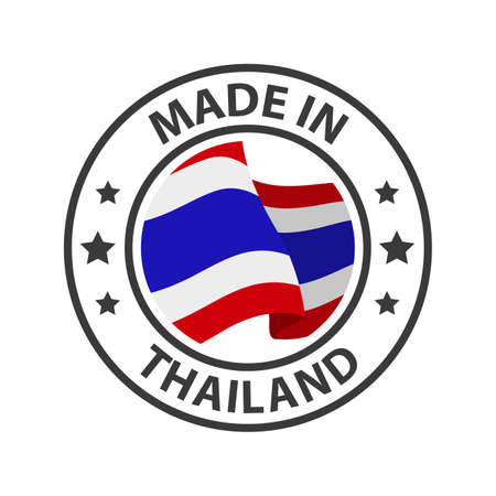 Made in Thailand icon. Stamp made in with country flag