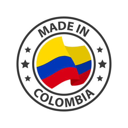Made in Colombia icon. Stamp made in with country flag
