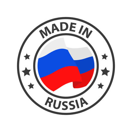 Made in Russia icon. Stamp made in with country flag