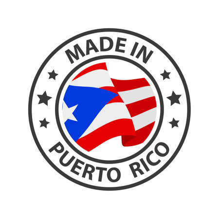 Made in Puerto Rico icon. Stamp made in with country flag