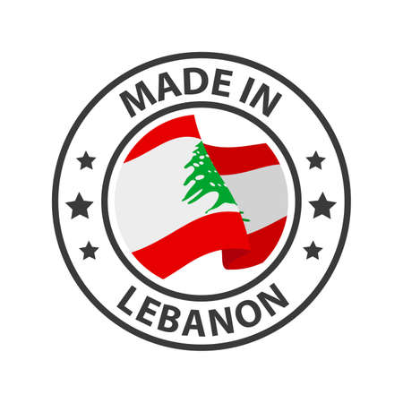 Made in Lebanon icon. Stamp made in with country flag